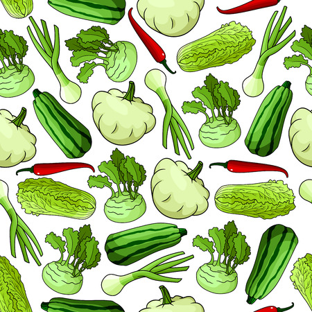 food shop: Vegetables seamless background. Wallpaper with vector pattern of fresh farm food icons. Pepper, chili, squash, zucchini, leek, chinese cabbage, kohlrabi for grocery store, food market, vegetarian product shop