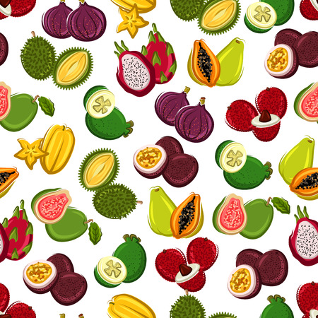 exotic fruit: Exotic fruits seamless background. Wallpaper with pattern of tropical fruit icons papaya, durian, carambola, lychee, mangosteen, dragon fruit, guava, passion fruit, fig