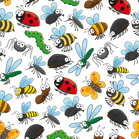 Bugs and insects funny cartoon seamless wallpaper with vector pattern of cute colorful characters of bumblebee, bee, beetle, ladybird, spider, butterfly, mosquito, dragonfly, caterpillar, fly