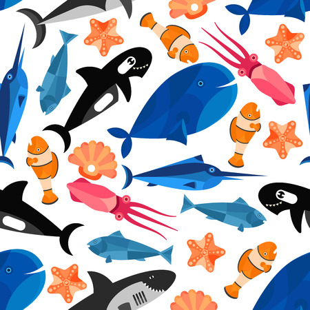 clownfish: Fish cartoon seamless background. Children funny wallpaper with vector pattern of cute swimming fishes, clownfish, shark, whale, starfish, swordfish, cuttlefish, shell, tuna, squid Illustration