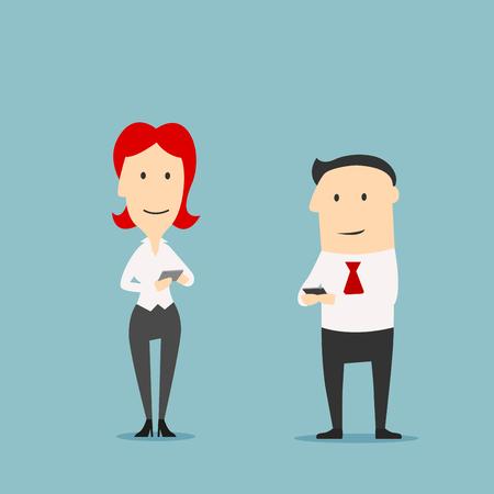 comunicar: Los trabajadores de oficina con los teléfonos inteligentes. hombre y mujer los jóvenes directivos con el teléfono móvil y la tablilla de la pista. Negocios, la tecnología y el concepto de comunicación Vectores
