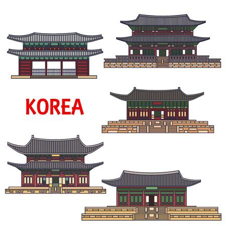 Historic temples of Korea. Vector detailed icons of Haeinsa, Gyeongbokgung, Gyeongbok palace, Namhansanseong, Changdeok, Changdeokgung, Bongeunsa. Korean showplaces symbols for souvenirs, postcards, t-shirts cups magnets