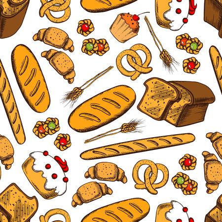 Piekarnia bezszwowe tło. Wektor wzór bułki, chleb, bagietki, ciasteczka, ciasta, ciastka, bułki, chleb, precel, obwarzanek pie wyrobów piekarniczych tapety cukiernia cafe piekarni cukierni Ilustracje wektorowe