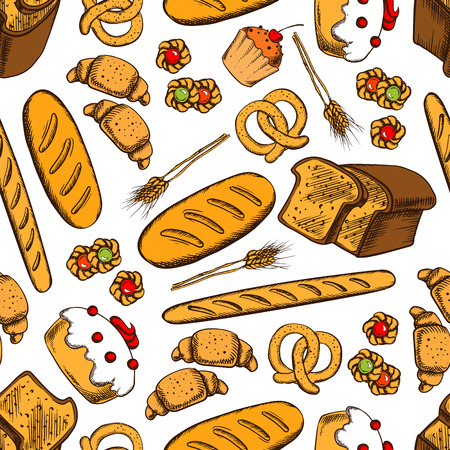 Bakery seamless background. Vector pattern of croissant, bread, baguette, cookie, cake, biscuit, bun, loaf, pretzel, bagel pie Bakery products wallpaper for patisserie cafe bakery pastry shop Illustration
