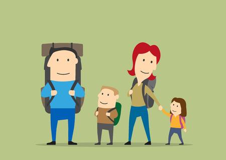 Famiglia con gli zaini. Padre, madre, ragazzo, ragazza sul trekking. Felici i genitori e bambini sul percorso trekking. Backpacking avventura vettore sfondo con i personaggi Vettoriali
