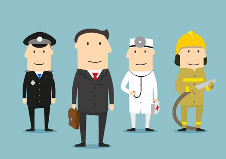 professional occupation: Professional occupation human characters. Policeman, doctor, fireman, lawyer in uniform. People professions vector icons