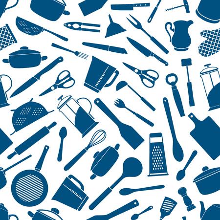 Sprzęt kuchenny bezszwowe tło. Tapeta wektor wzór naczynia do gotowania ikony sylwetka widelec, nóż, nożyczki, garnek, rondel, rolling pin, rondel, szpachelki, trzepaczka, tarka, dzbanek, czajnik deska do krojenia kadzi