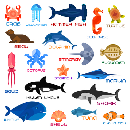 flounder: Oceanarium animals and fishes. Ocean and sea vector icons of crab, jellyfish, hammerhead fish, seahorse, turtle, seal, dolphin, squid, octopus, stingray, flounder, starfish, marlin killer whale shark whale shell tuna clown fish