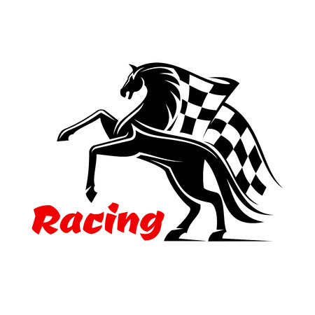 checkered label: Horse race icon with racing checkered flag. Horse running sport emblem for sport club, bookmaker signboard, team shield, badge, label