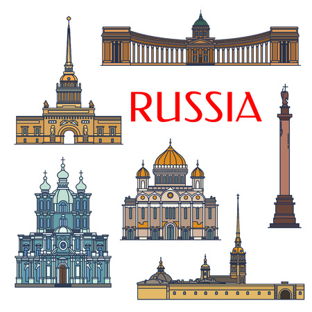 Historic sightseeings and buildings of Russia. Vector architecture detailed icons of Admiralty, Alexander Column, Palace Square, Kazan Cathedral, Christ the Saviour, Smolny Convent. Russian symbols for souvenirs, postcards, t-shirts, magnets Illustration