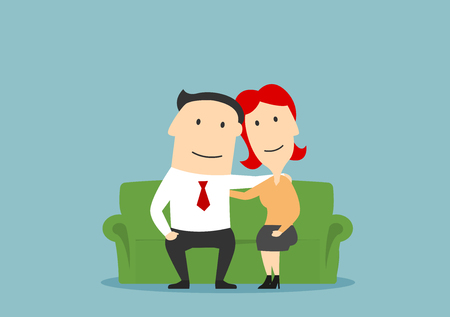 family man: Family couple sitting on sofa. Husband and wife hugging. Happy parents vector characters. Love, care and tenderness concept. Adult man and woman romance and friendship