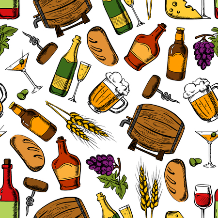 bread and wine: Pub whiskey, drinks and snacks seamless background. Wallpaper with vector pattern icons of whiskey, wine, beer, cheese, olives, wheat, grape, barrel, bread loaf corkscrew champagne