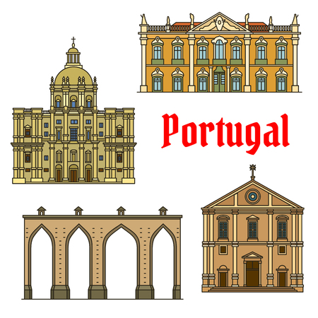Historic buildings of Portugal. Vector detailed icons of Aqueduto das Aguas Livres, Lisbon Aqueduct, Palace of Queluz, Church of Santa Engracia, National Pantheon, Church of Saint Roch. Architecture symbols for souvenirs Illustration