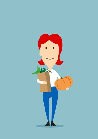 Woman with paper bag full of groceries and pumpkin in hands. Mother in supermarket or grocery shop. Healthy food and family care concept with flat vector character