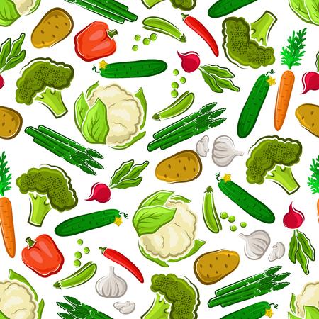 Vegetables seamless background. Vegetarian wallpaper with pattern vector icons of fresh farm carrot, asparagus, cucumber, potato, broccoli, radish, cauliflower, pea, garlic pepper Illustration