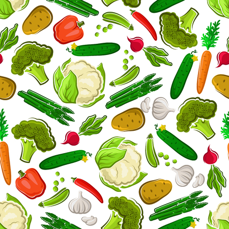 Vegetables seamless background. Vegetarian wallpaper with pattern vector icons of fresh farm carrot, asparagus, cucumber, potato, broccoli, radish, cauliflower, pea, garlic pepper Иллюстрация