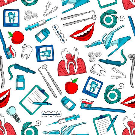 Estomatología y odontología de fondo sin fisuras. Fondo de pantalla con los iconos del vector de dentista y equipo estomatólogo y medicamentos