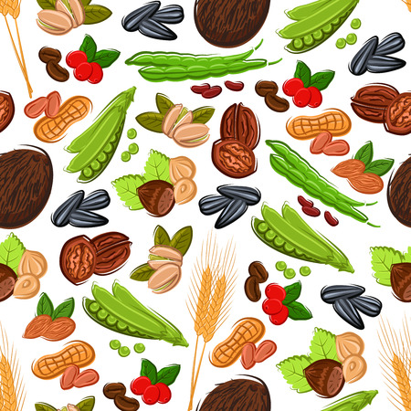Nuts, grain, kernels and berries seamless background Wallpaper with vector pattern icons of almond, walnut, coconut, hazelnut, grain, peanut, pea, sunflower seeds, wheat, pistachio cranberry coffee beans