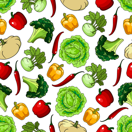 Vegetables seamless background. Wallpaper with pattern of fresh farm vegetarian food. Pepper, cabbage, kohlrabi, chili, squash for grocery store, food market, product shop Stock Vector - 62637301