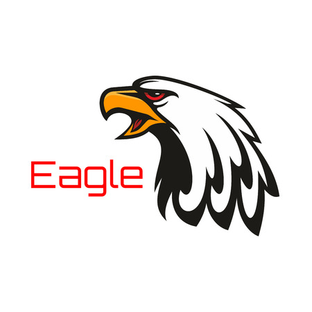 beak: Eagle harsh crying. Vector emblem of hawk with open beak. Heraldic label for team mascot shield, icon, badge, tattoo. Falcon symbol for scout, sport, guard, club identity icon