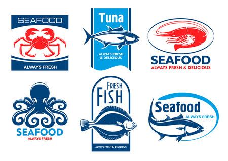 prodotti ittici tag ed emblemi. Icone di vettore per il prodotto, società, etichetta ristorante. I simboli grafici di granchio, tonno, gamberi, polpi, passera, pesce