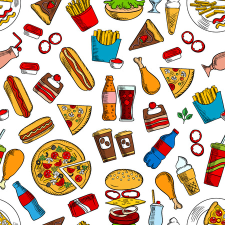 coke: Fast food seamless background. Wallpaper with vector pattern of snacks and drinks icons hamburger, cheeseburger, coke, fries, hot dog, pizza, ice cream, coffee, chicken leg, ketchup, mustard, cake for kitchen or restaurant decoration Illustration