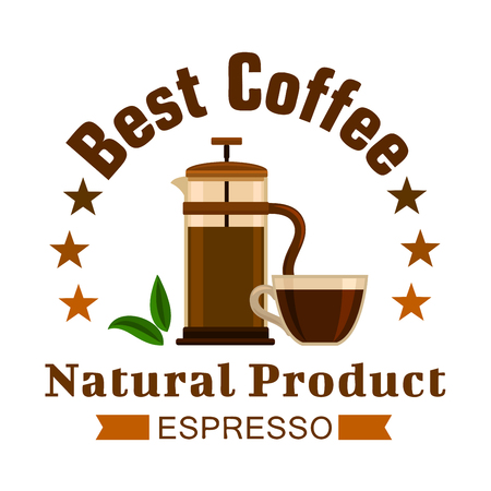 french cafe: Cafe emblem. Coffee Espresso label. Coffee maker french press and cup elements for for cafeteria signboard, fast food menu, coffee shop