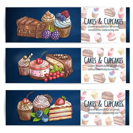 Bakery desserts and sweets poster. Confectionery, pastries, cupcakes, cakes, cookies with berries. Vector banner for patisserie, cafe leaflet, pastry shop signboard, menu