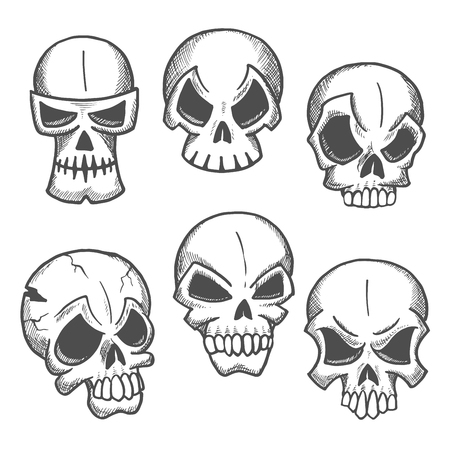 cranium: Artistic skeleton skulls sketches icons. Abstract cranium shapes with expressions. Skull icons for cartoon, label, tattoo, halloween decoration