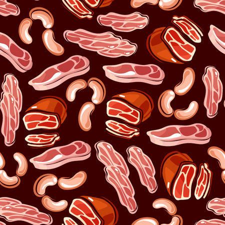 meat food: Sausages and bacon slices seamless background. Wallpaper with pattern of sausage, bacon, smoked meat for restaurant menu, grocery shop, food package