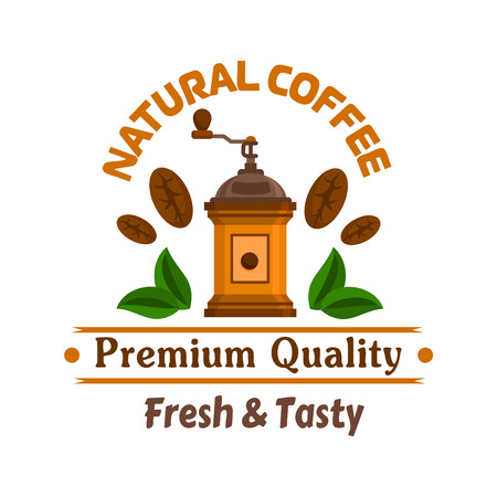 coffee beans: Cafe emblem. Retro coffee mill, coffee beans and leaves label template for cafeteria signboard, fast food menu, coffee shop door sticker