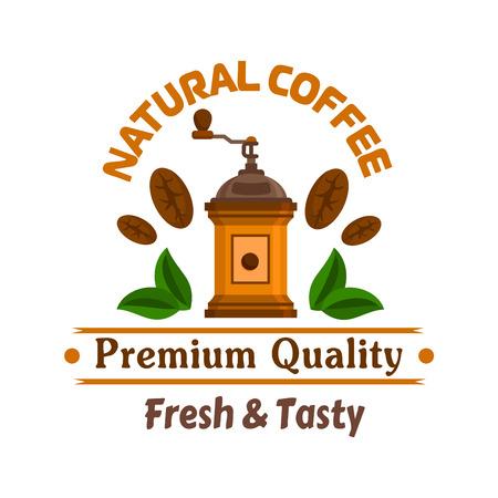 chicchi di caff?: Cafe emblema. Retro laminatoio di caffè, chicchi di caffè e lascia modello di etichetta per la mensa cartello, menu di fast food, caffetteria adesivo porta Vettoriali