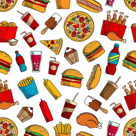 coke: Fast food seamless background. Hamburger, chicken leg, muffin, cheeseburger, coke, fries, soda, hot dog, pizza, ice cream, coffee ketchup mustard cupcake icons Kitchen or restaurant decoration wallpaper