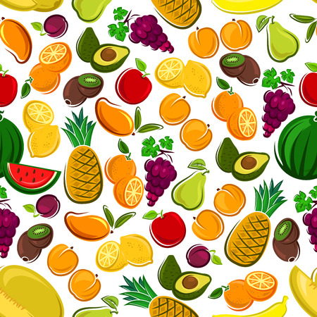 grape fruit: Fruits seamless background. Wallpaper with vector pattern icons of exotic and tropical fruit avocado, pineapple, apple, mango, orange, watermelon, grape, lemon, banana, plum, kiwi juice icon apricot pear Illustration