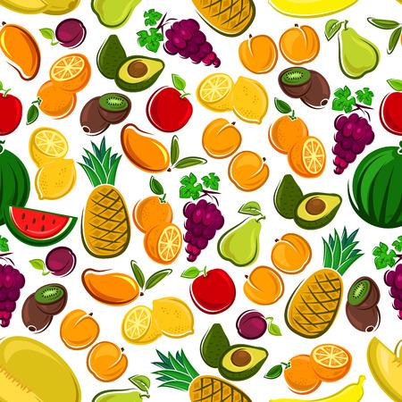 Fruits seamless background. Wallpaper with vector pattern icons of exotic and tropical fruit avocado, pineapple, apple, mango, orange, watermelon, grape, lemon, banana, plum, kiwi juice icon apricot pear Illustration