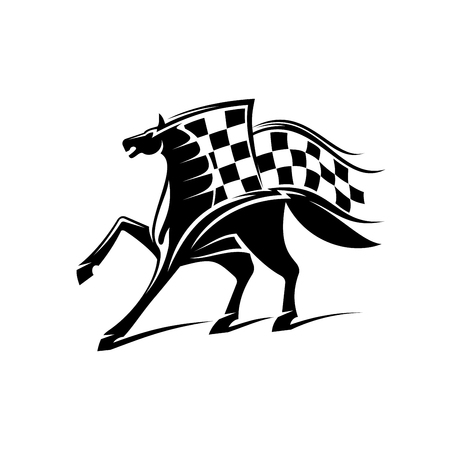 checkered label: Horse with checkered flag. Horse racing vector emblem for car races icon, sport club label, bookmaker signboard, team shield, badge