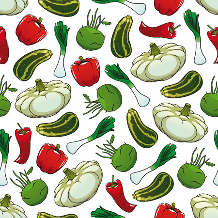 zucchini: Farm vegetables seamless background. Wallpaper with pattern of fresh vegetarian food pepper, zucchini, paprika, celery, kohlrabi, chili. Vegan design for grocery store, food market, product shop, decoration