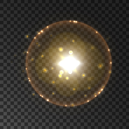 lensflare: Solar light flash with lens flare effect. Sun with rays and halo. Starburst with sparkles on transparent background Illustration