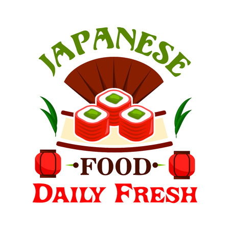 eatery: Japanese food icon. Sushi, maki, rolls label. Oriental cuisine emblem for restaurant, eatery and menu. Advertising sticker for door sign board, poster, leaflet, flyer
