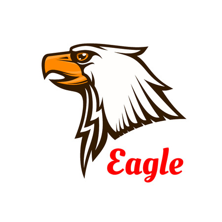 brave of sport: Bald Eagle icon. Hawk graphic emblem for team mascot shield, icon, badge, label and tattoo. Falcon symbol for scout, sport, guard, club Illustration