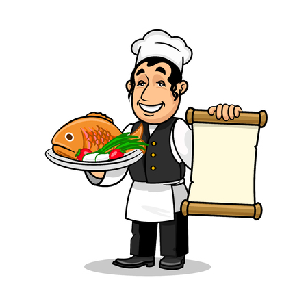 fish vendor: Fish restaurant Chef holding menu card template and fried fish dish. Vector icon for restaurant label, signboard Illustration