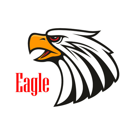harsh: Eagle emblem. Vector icon of harsh crying hawk with open beak. Falcon label for team mascot shield, badge, sport, guard, club identity label