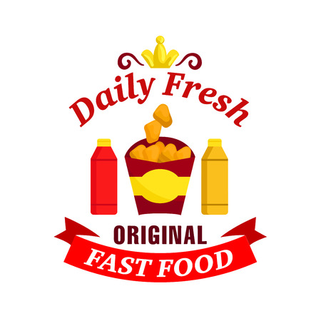 eatery: Fast food label. Vector icon with chicken nuggets, ketchup, mustard, golden crown, red ribbon for restaurant menu, eatery signboard, cafe sticker