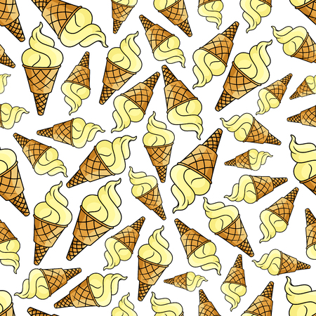 souffle: Ice cream waffle cone seamless background. Wallpaper with dessert pattern vector icons of vanilla ice cream scoops for cafe, restaurant menu, decoration