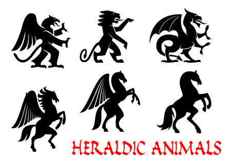 creature: Animals heraldic emblems. Vector silhouette icons. Griffin, Dragon, Lion, Pegasus, Horse outline for tattoo, heraldry, tribal shield emblem. Fantasy mythical creatures
