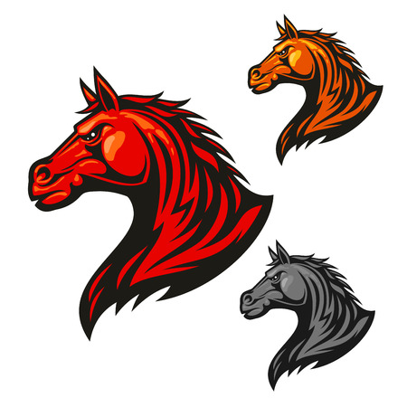Furious horse head icon. Stylized fire flaming stallion vector emblems. Aggressive powerful mustang symbol for sport club emblem badge, team shield, label, tattoo Иллюстрация