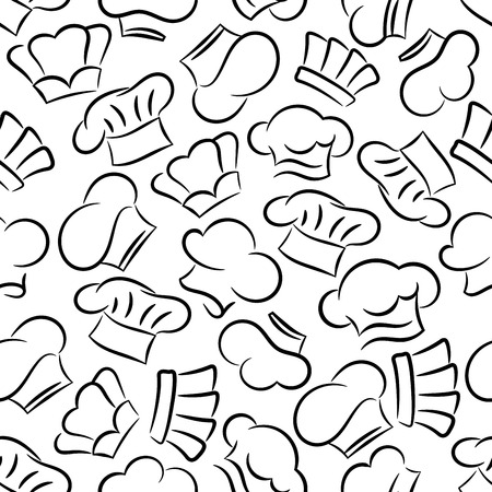 toque: Chef toques, caps and hats. Seamless pattern background. Restaurant, cafe, bakery, kitchen tablecloth decoration wallpaper Illustration
