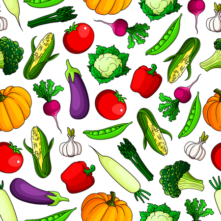 food shop: Fresh farm vegetables seamless background. Wallpaper with icon pattern of fresh vegetarian food tomato, pepper, corn, paprika, radish, pumpkin, broccoli, cauliflower, garlic, pea for grocery store, food market, product shop, tablecloth