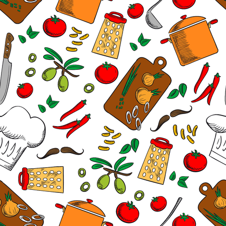 saucepan: Cooking products and kitchen utensils seamless background. Wallpaper with vector pattern icons of pepper, tomato, olives, saucepan, sliced onion, knife, grater, chef cap, mustaches