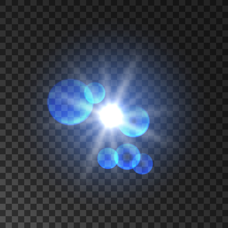 Spot light with halo and lens flare effect. Glowing light flash. Flashy star bokeh. Sunshine rays on transparent background Illustration
